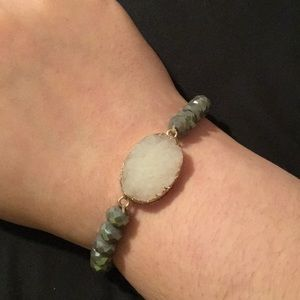 White crystal with gray beaded bracelet